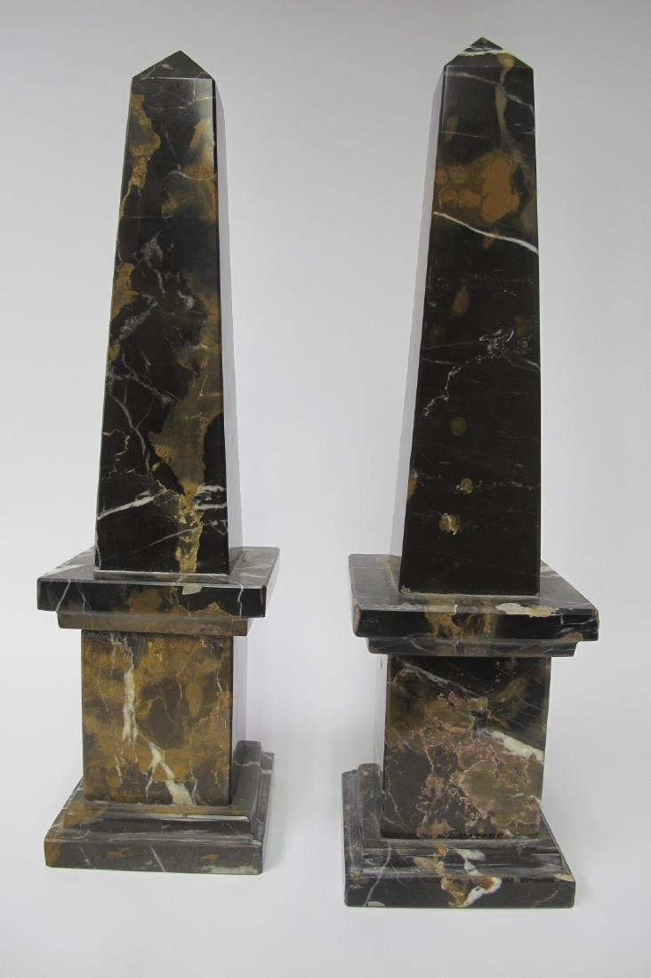 Pair Marble French Art Deco Obelisks (1920's - 1930's),
