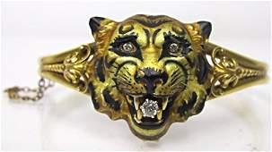 Antique 18K Diamond and Enamel Tiger Locket Bracelet