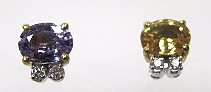 18K Yellow Gold & White Gold Sapphire & Dia Earrings