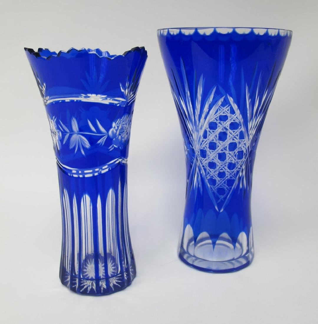 "Two (2) Bohemian Cobalt Cut to Clear Vases, 10"" and 9"""