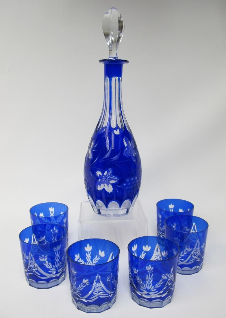 "Bohemian Cobalt Cut to Clear 15"" Decanter w/ Stopper"