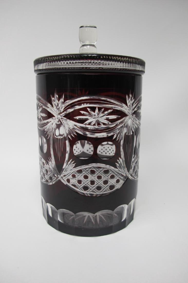 "Bohemian Ruby Glass Cut to Clear 9"" Lidded Biscuit Jar"