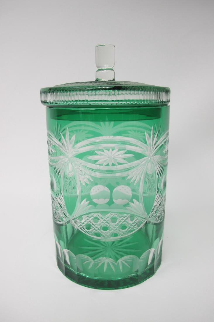 """Bohemian Emerald Green Cut to Clear 9"""" Lidded Biscuit"""