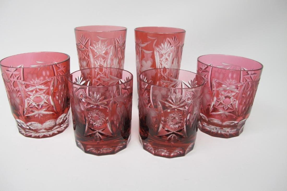 Bohemian Cranberry Cut to Clear Glasses to Include: 2