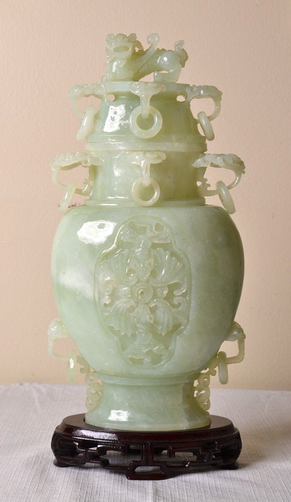 4: LARGE SERPENTINE JADE COVERED URN