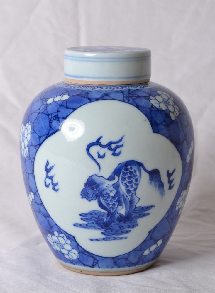 17: BLUE AND WHITE COVERED JAR