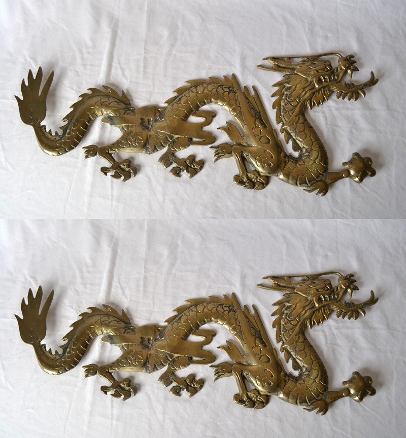 14: 2 BRASS DRAGON HANGINGS