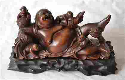 49: CARVED HARDWOOD MAITREYA BUDDHA & BOYS
