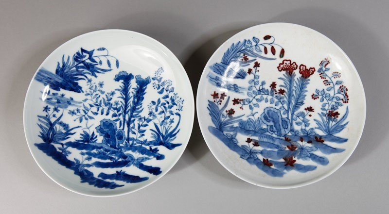 8: 2 BLUE AND WHITE PORCELAIN PLATES