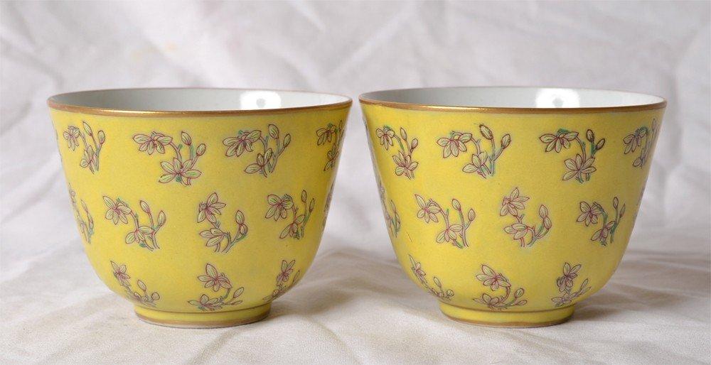 218: PAIR OF FAMILLE ROSE TEA CUPS