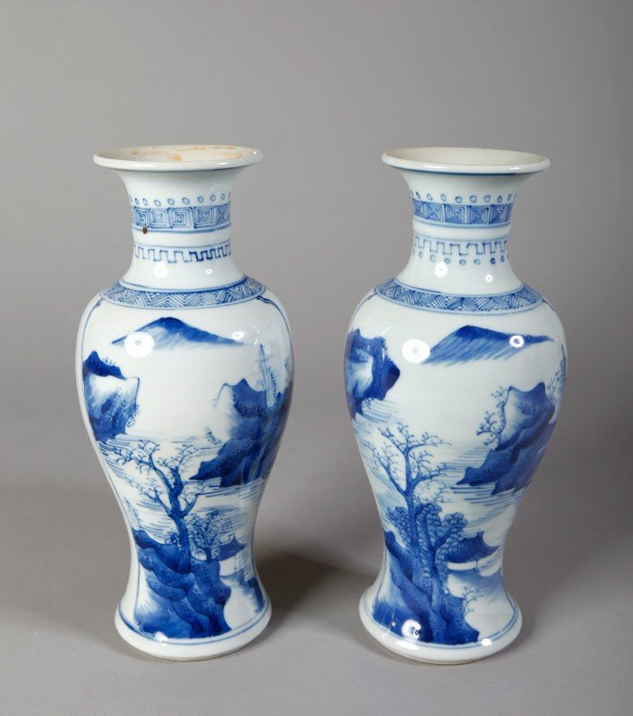 3: PAIR OF CHINESE QING HUA PORCELAIN VASES