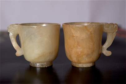 35: PAIR OF 18TH C. CHINESE JADE CUPS