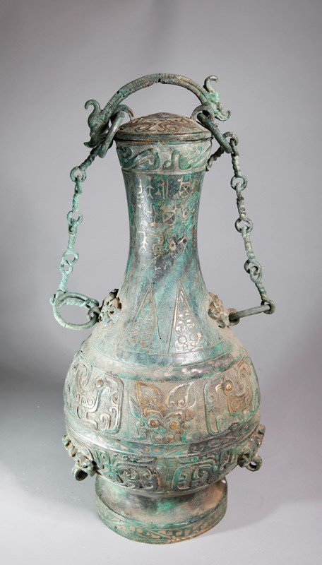 17A: CHINESE BRONZE VASE WITH LID