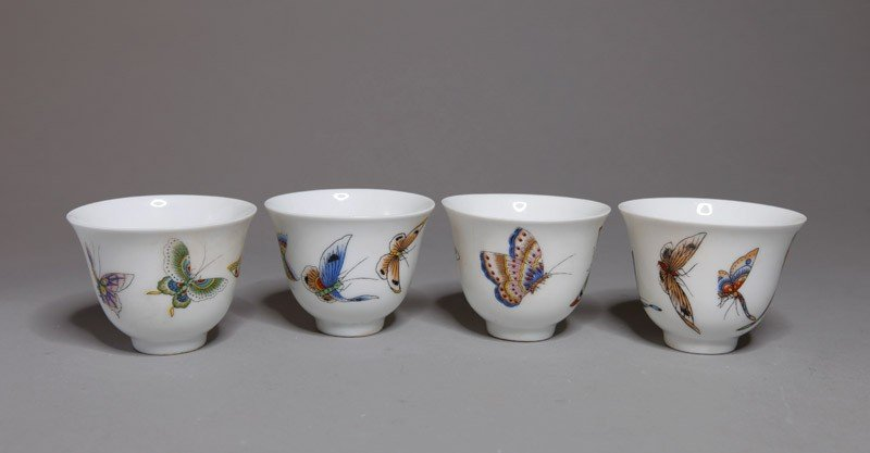 17: 4 CHINESE PORCELAIN ENAMELED CUPS
