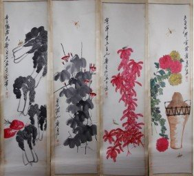 2: 4 PIECE CHINESE PAINTINGS SIGNED QI BAISHI