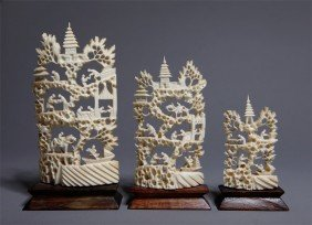 3 CHINESE CARVED IVORY VILLAGES