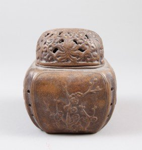 9: CHINESE ZI SHA COVERED INCENSE BURNER