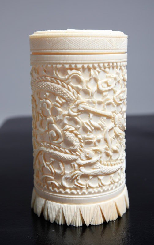 18: CHINESE CARVED IVORY COVERED CUP