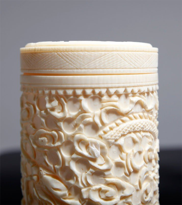 18: CHINESE CARVED IVORY COVERED CUP - 3