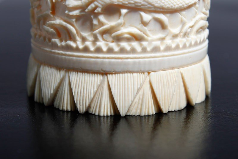 18: CHINESE CARVED IVORY COVERED CUP - 4