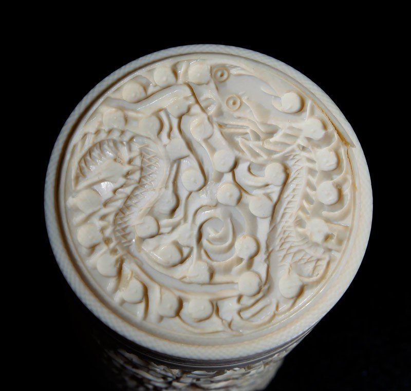 18: CHINESE CARVED IVORY COVERED CUP - 5