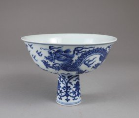 20: CHINESE BLUE & WHITE FOOTED BOWL