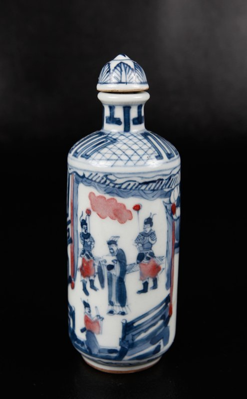 5: CHINESE BLUE & RED PORCELAIN SNUFF BOTTLE