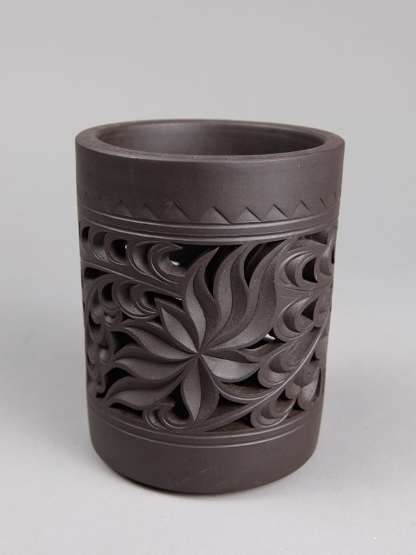 13: CHINESE ZI SHA POTTERY BRUSH POT
