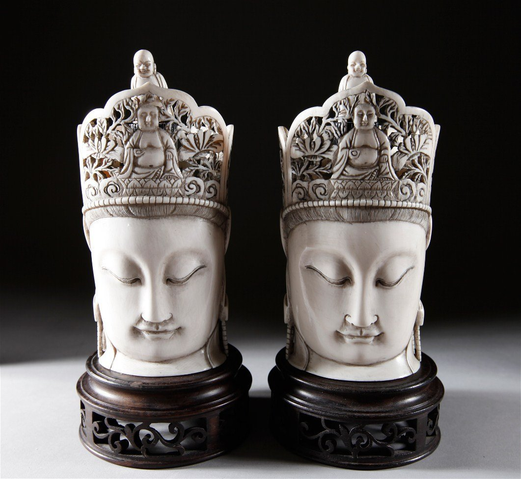 20: PAIR OF CHINESE CARVED IVORY GUAN YIN'S