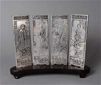 30: CHINESE ZANG-SILVER 4 PIECE TABLE SCREEN