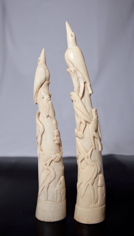 121: PAIR OF CHINESE CARVED IVORY TUSKS