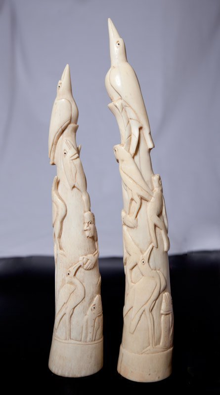 121: PAIR OF CHINESE CARVED IVORY TUSKS - 2