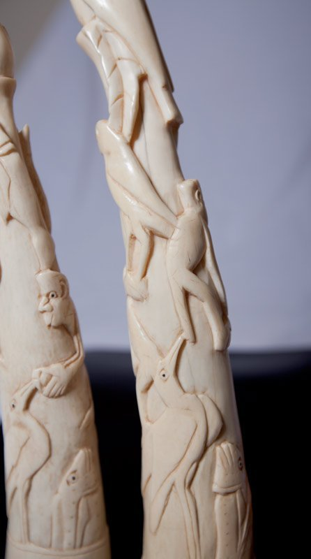 121: PAIR OF CHINESE CARVED IVORY TUSKS - 4
