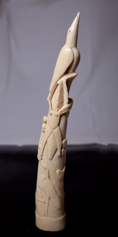 121: PAIR OF CHINESE CARVED IVORY TUSKS - 6