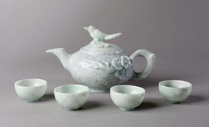 9: 5 PIECE CHINESE HARDSTONE TEA SET