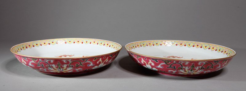 1: PAIR OF CHINESE FAMILLE ROSE SHALLOW BOWLS