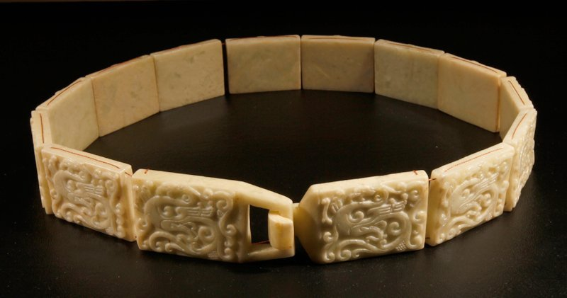 11: CHINESE CARVED JADE SECTIONED BELT