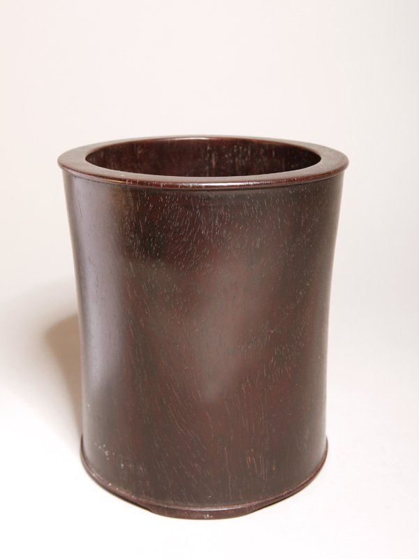 12: CHINESE CARVED TAN WOOD BRUSH POT