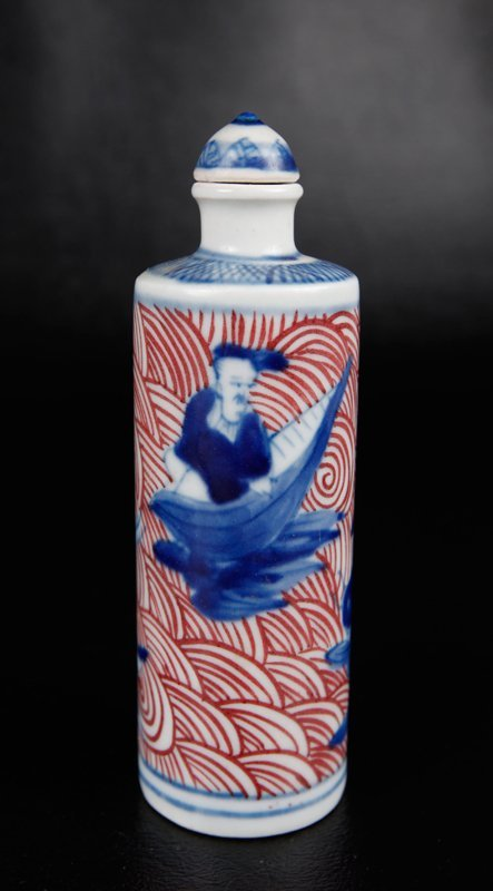 16: CHINESE BLUE & RED PORCELAIN SNUFF BOTTLE