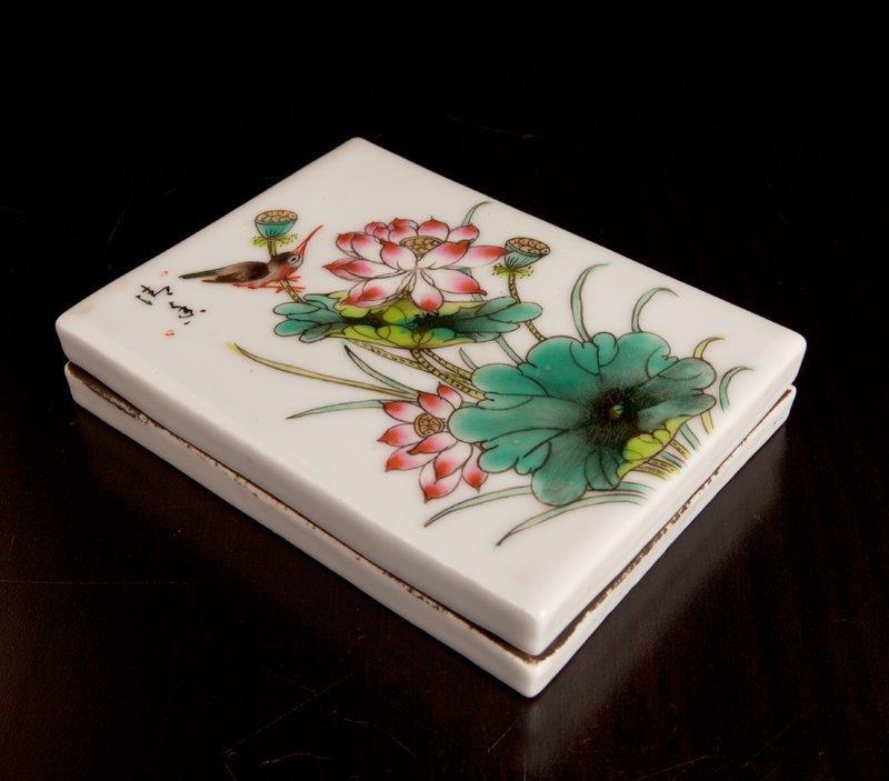 11: Chinese Porcelain Enameled Ink Box