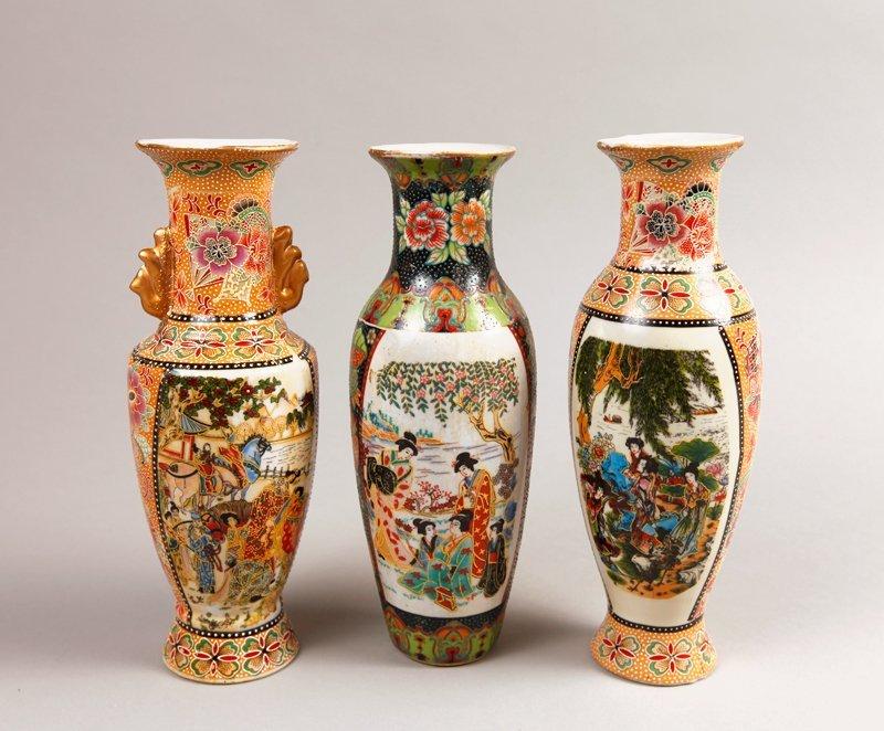 12: 3 Japanese Porcelain Vases