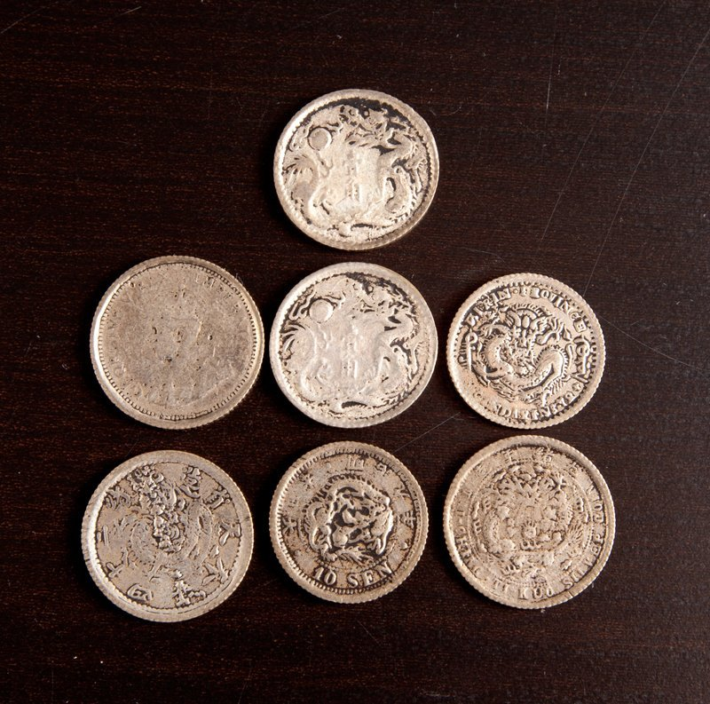 21: Grouping of 7 Silver Chinese Coins
