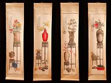 110: 4 Chinese Scroll Paintings Attb.to Mei Lan Fang