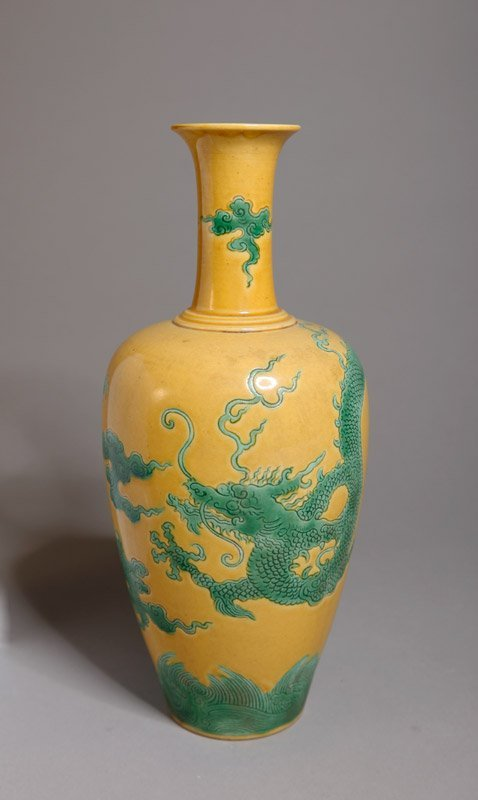 5: CHINESE SAFFRON YELLOW AND GREEN PORCELAIN VASE