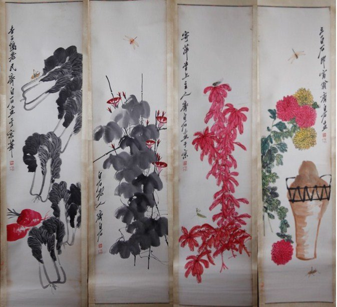 6: 4 PIECE CHINESE PAINTINGS SIGNED QI BAISHI