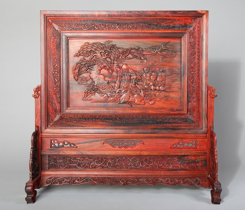 15: CHINESE CARVED HARDWOOD TABLE SCREEN