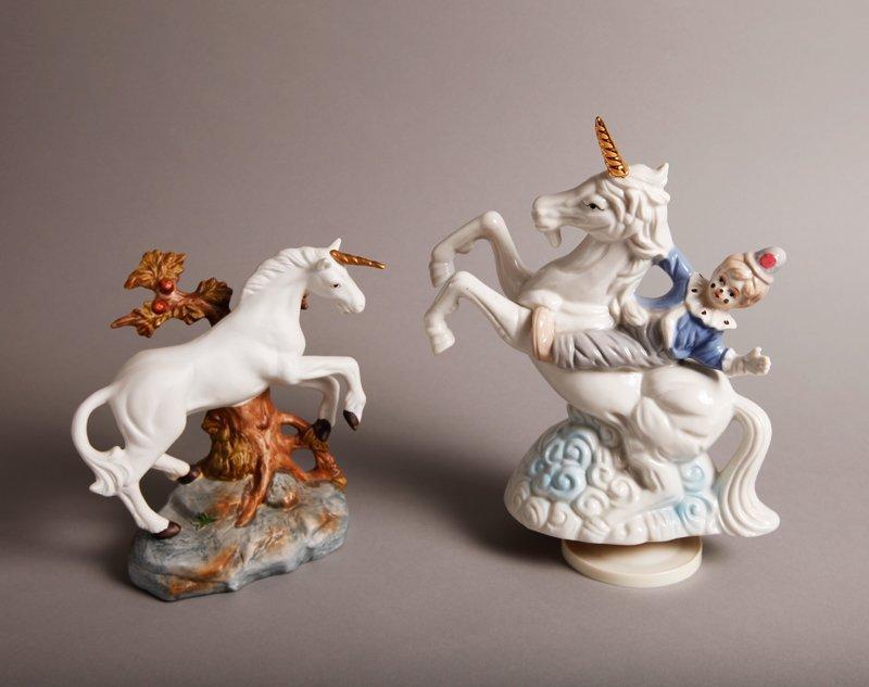 21: 2 Porcelain Unicorn Figurines