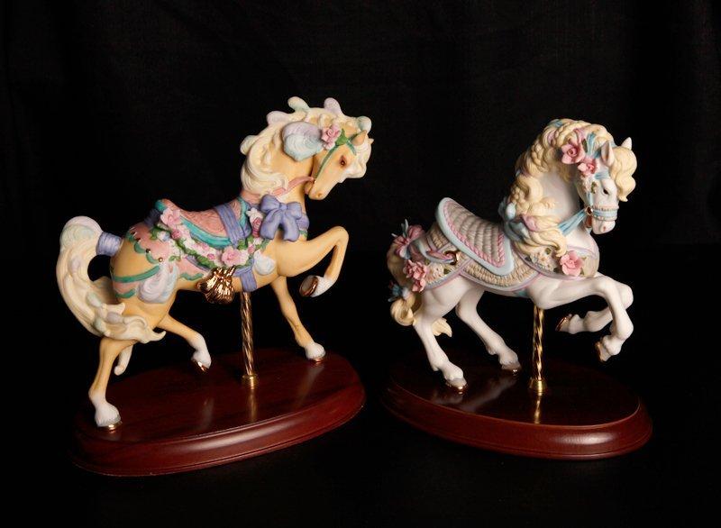 88: 2 Lenox Porcelain Carousel Horse Figurines