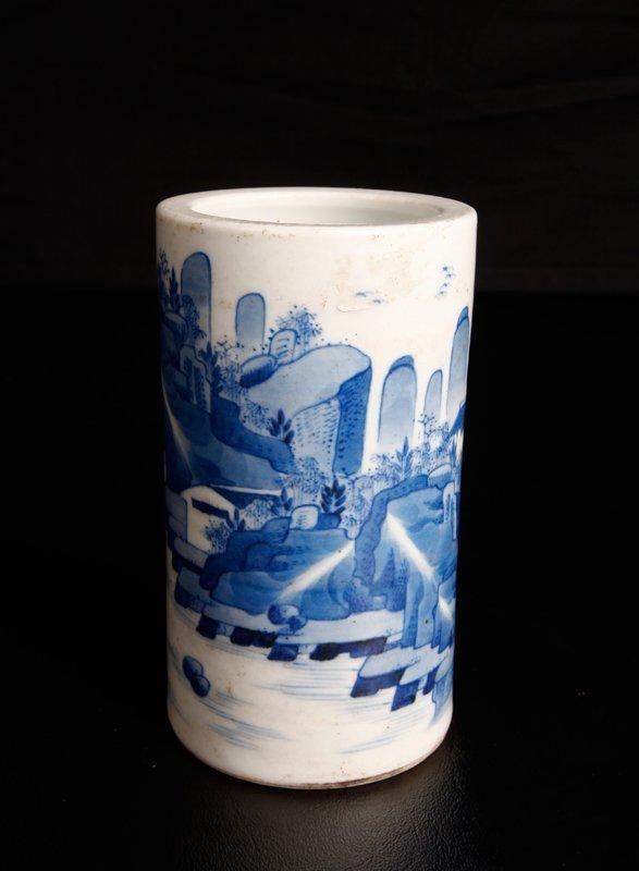 3: Chinese Blue & White Porcelain Brush Pot