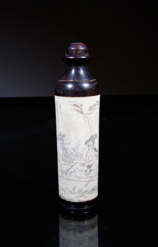 19: Chinese Bone & Rosewood Erotic Snuff Bottle